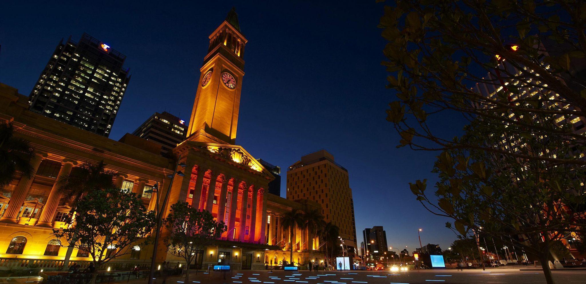 Brisbane City Town Hall Night View 布里斯班市政厅夜景