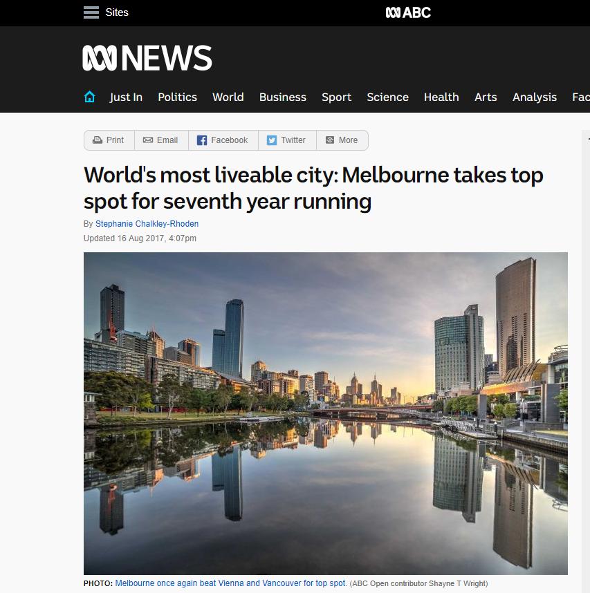 澳洲墨尔本最适合居住城市