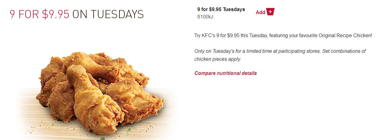 澳洲KFC促销只需 $9就能拥有9片KFC炸鸡