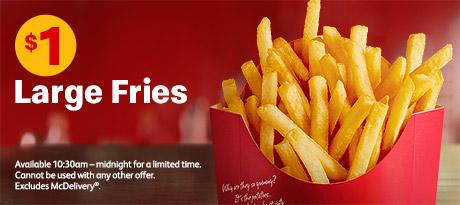 麦当劳折扣 麦当劳大份薯条