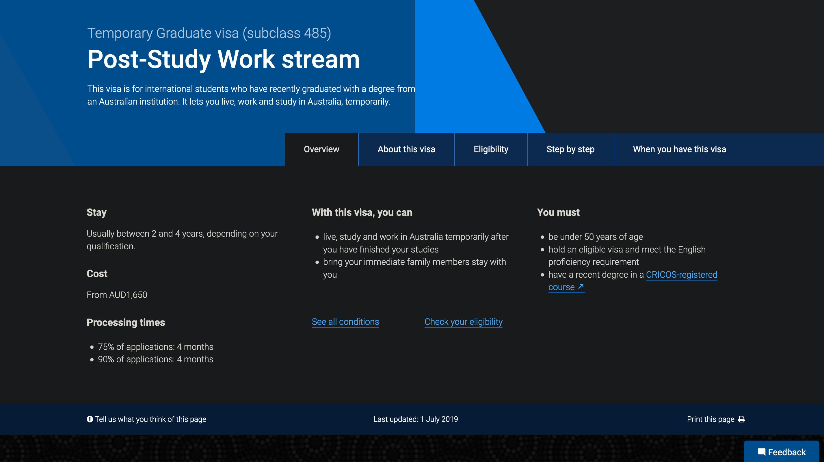 澳洲485签证(Post Study Work Stream)申请费用