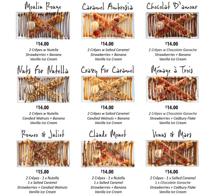 Miss Claudes Crepes menu