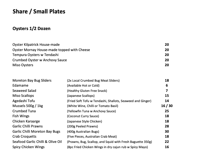 reef seafood menu