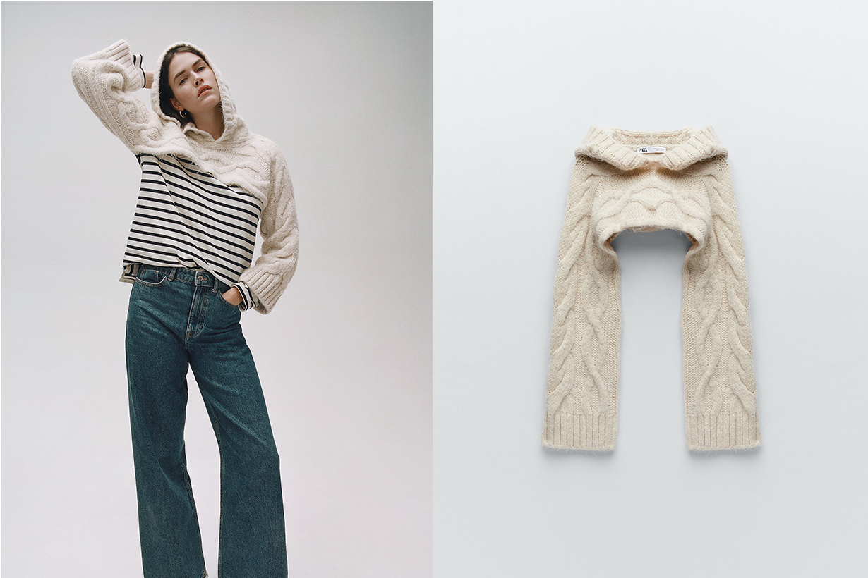 zara hooded cable knit arm warmers sweaters 2020 fw